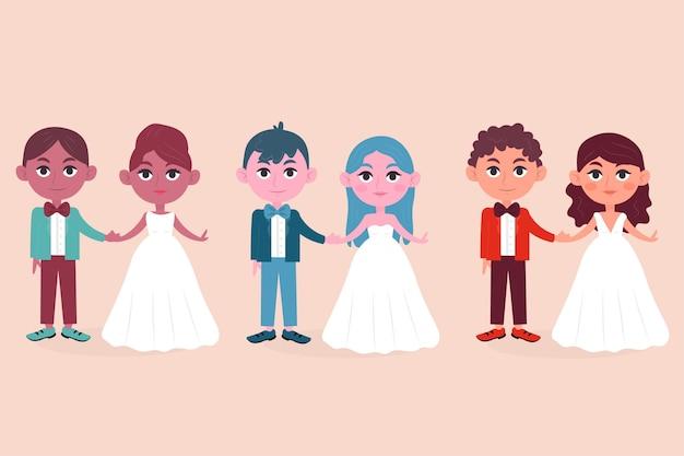 Geïllustreerde bruidspaar collectie concept