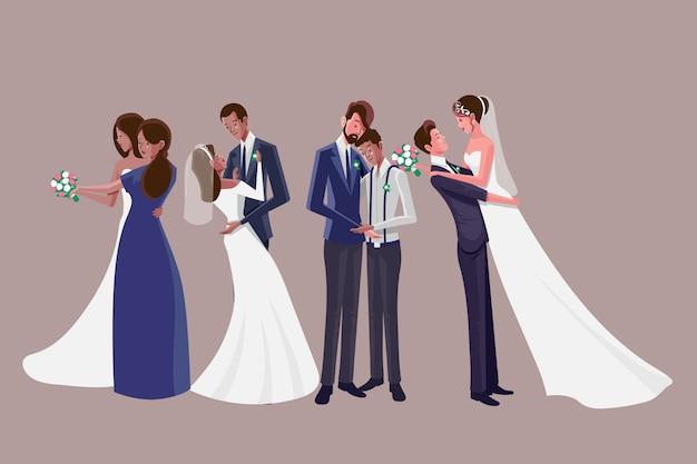 Geïllustreerde bruidspaar collectie ontwerp