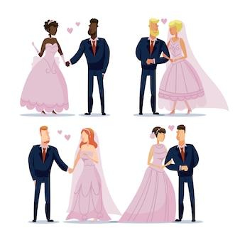 Geïllustreerde bruidspaar concept