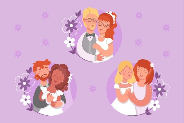 Geïllustreerde bruidspaar ontwerp