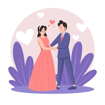 Geïllustreerde bruidspaar