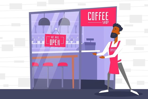 Geïllustreerde coffeeshoparbeider naast open teken