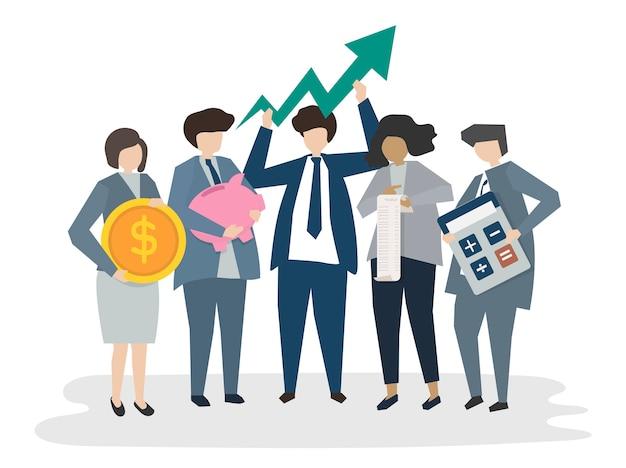 Geïllustreerde corporatebusiness-mensen