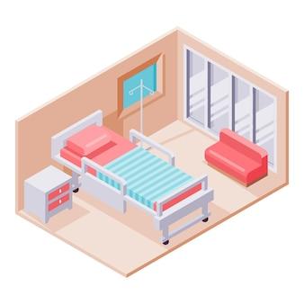 Geïllustreerde creatieve isometrische ziekenhuiskamer