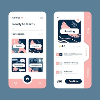 Geïllustreerde cursus-app-interfacesjabloon