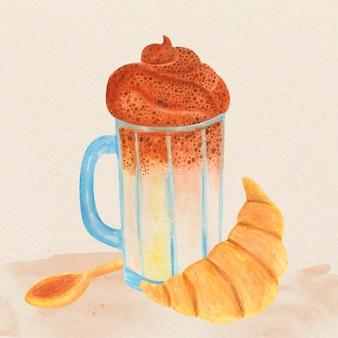 Geïllustreerde dalgona koffie met croissant