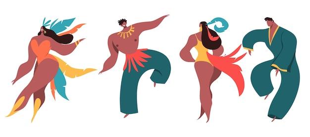 Geïllustreerde danseres set braziliaans carnaval