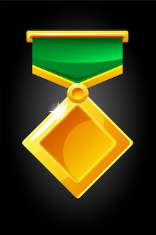 Geïllustreerde diamanten medaille voor spel. gouden medaillemalplaatje op lint.