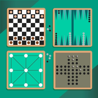 Geïllustreerde diverse reeks bordspellen