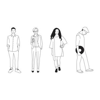 Geïllustreerde diverse toevallige mensen