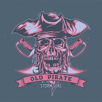Geïllustreerde dode piraat in hoed.