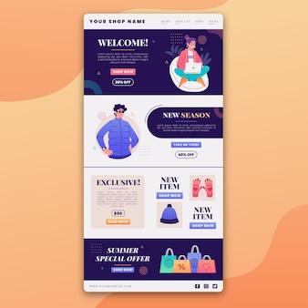 Geïllustreerde e-mailsjabloon voor creatieve e-commerce