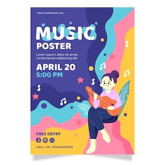Geïllustreerde flyer muziekevenement
