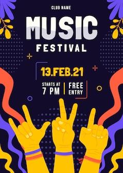 Geïllustreerde flyer muziekfestival