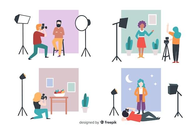 Geïllustreerde fotografen die opnamen maken met verschillende geplaatste modellen