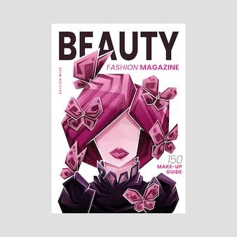 Geïllustreerde gedetailleerde schoonheidstijdschriftomslag