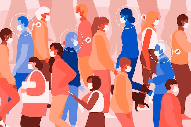Geïllustreerde geïnfecteerde mensen onder gezonde mensen