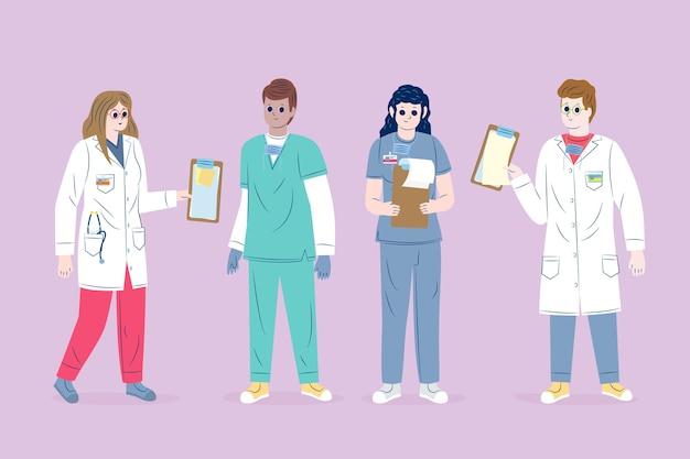 Geïllustreerde gezondheidswerker team