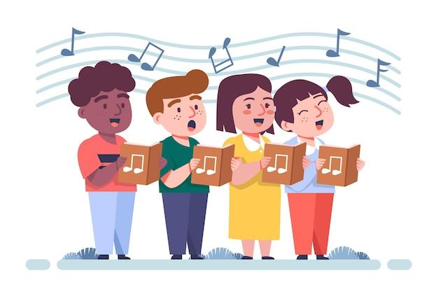 Geïllustreerde groep kinderen die zingen in een koor