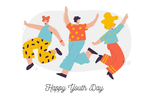 Geïllustreerde groep mensen die de jeugddag vieren
