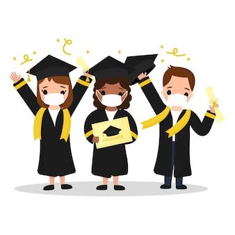 Geïllustreerde groep mensen een diploma behalen