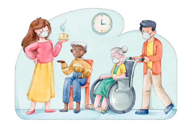 Geïllustreerde groep vrijwilligers die ouderen helpen