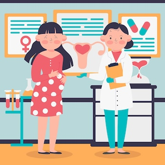 Geïllustreerde gynaecoloog en zwangere vrouw