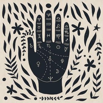Geïllustreerde hand getrokken handlijnkunde concept