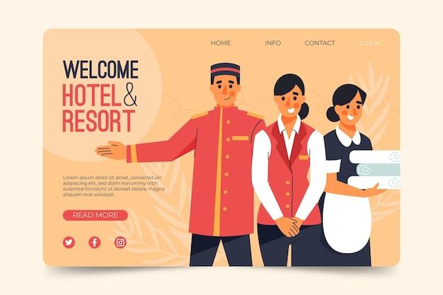 Geïllustreerde hotelbannermalplaatje