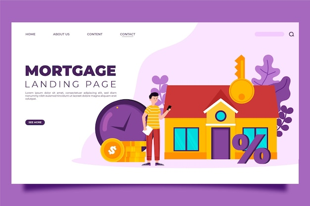 Geïllustreerde hypotheek-bestemmingspagina-sjabloon