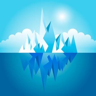 Geïllustreerde ijsberg in de oceaan