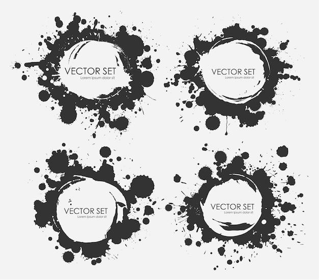 Geïllustreerde inktvlekken set collectie in zwart-wit.