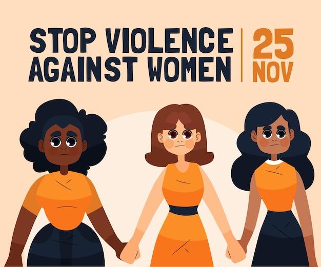 Geïllustreerde internationale dag voor de uitbanning van geweld tegen vrouwen