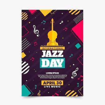 Geïllustreerde jazz dag flyer-sjabloon