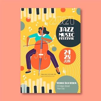 Geïllustreerde jazzmuziek festival poster
