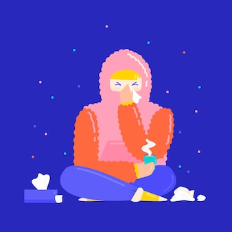 Geïllustreerde jongere met een verkoudheid