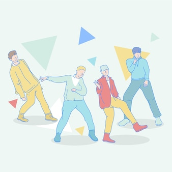 Geïllustreerde k-pop jongensgroep