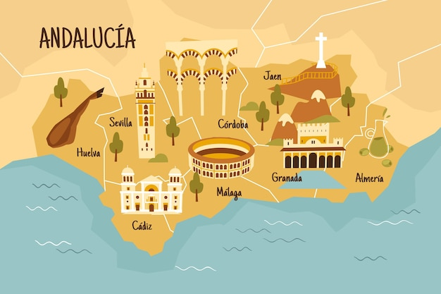 Geïllustreerde kaart van andalusië met interessante bezienswaardigheden