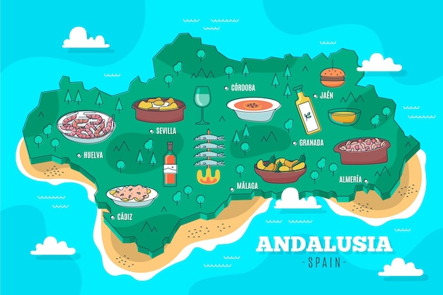 Geïllustreerde kaart van andalusië met oriëntatiepunten