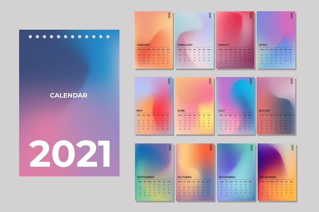 Geïllustreerde kalendersjabloon voor 2021