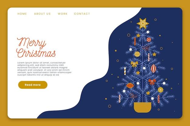 Geïllustreerde kerst-bestemmingspagina-sjabloon
