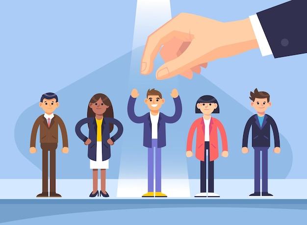 Geïllustreerde keuze van werknemersconcept