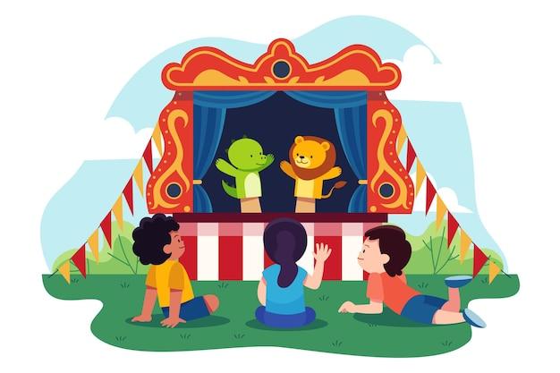 Geïllustreerde kinderen die poppenspel kijken