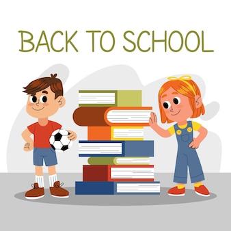 Geïllustreerde kinderen terug naar school