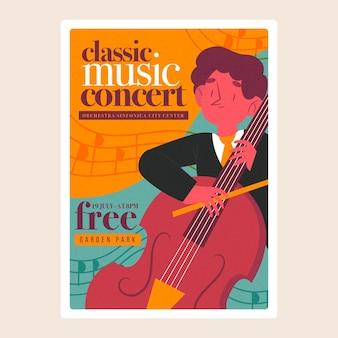Geïllustreerde klassieke muziekfestivalaffiche