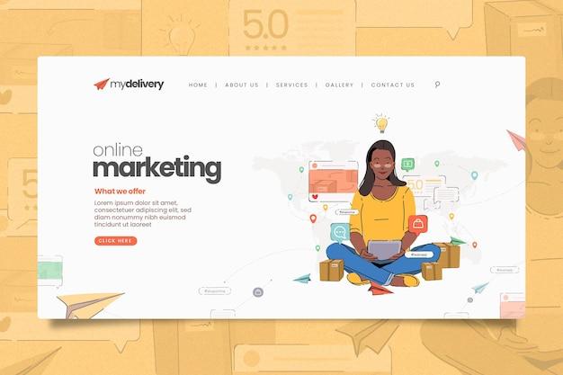 Geïllustreerde landingspagina voor online marketing