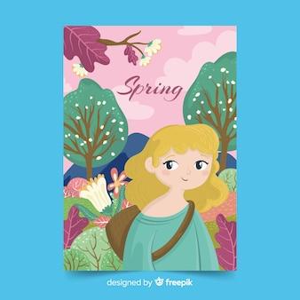 Geïllustreerde lente seizoen poster