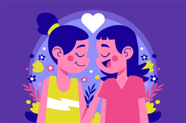 Geïllustreerde lesbisch koppel glimlachen