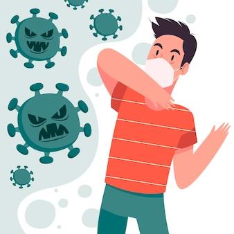 Geïllustreerde man bang voor de ziekte van covid-19