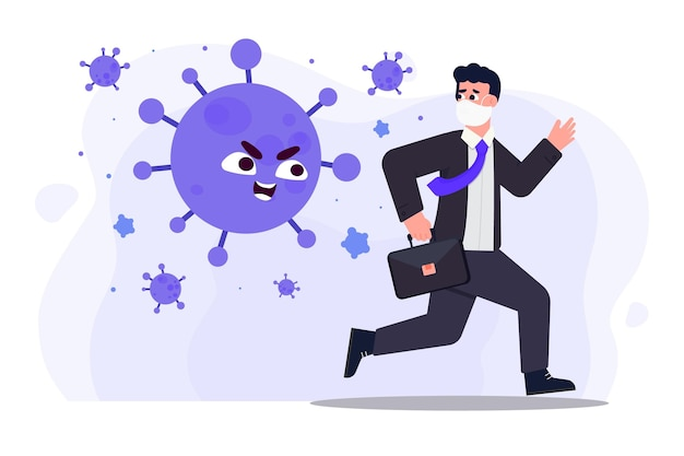 Geïllustreerde man die wegrent voor deeltjes van coronavirus